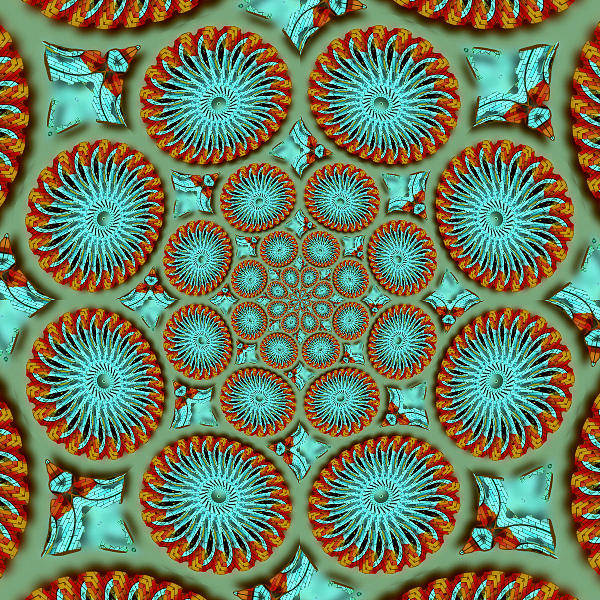 Digital Art - Mandala Art Teal Orange by Susan Leggett