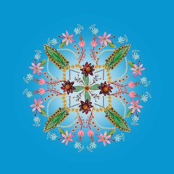 Wall Art - Painting - Mandala Flowering Series #1. Blue by Elena Kotliarker