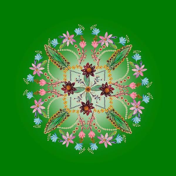 Wall Art - Digital Art - Mandala Flowering Series #1. Green by Elena Kotliarker