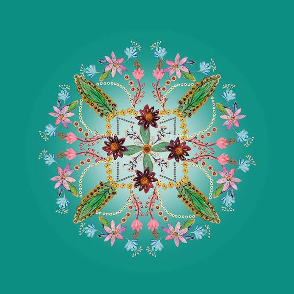 Wall Art - Digital Art - Mandala Flowering Series #1. Ultramarine by Elena Kotliarker