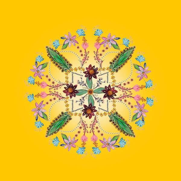 Wall Art - Digital Art - Mandala Flowering Series #1. Yellow by Elena Kotliarker