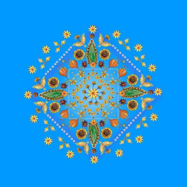 Wall Art - Digital Art - Mandala Flowering Series #2. Blue by Elena Kotliarker