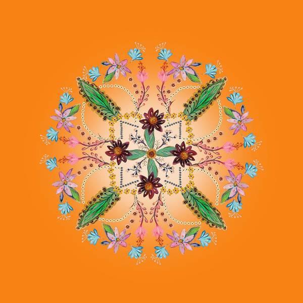 Wall Art - Digital Art - Mandala Flowering Series#1. Orange by Elena Kotliarker