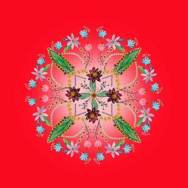 Wall Art - Digital Art - Mandala Flowering Series#1. Red by Elena Kotliarker
