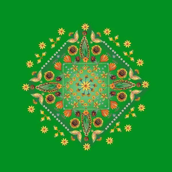 Wall Art - Digital Art - Mandala Flowering Series#2. Green by Elena Kotliarker