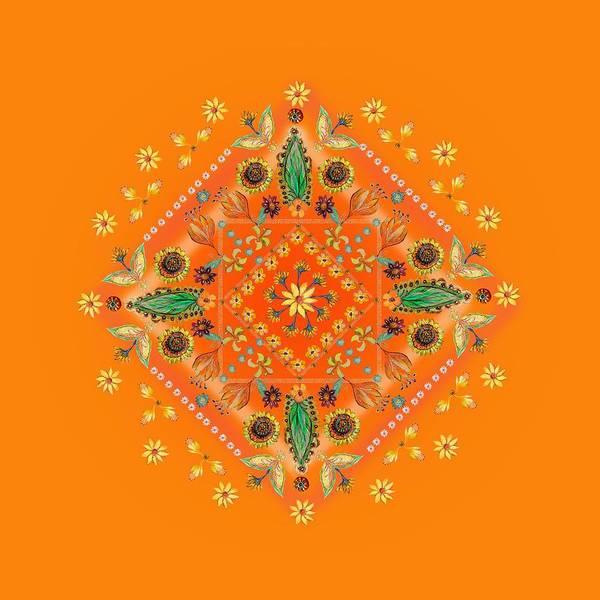 Wall Art - Digital Art - Mandala Flowering Series#2. Orange by Elena Kotliarker