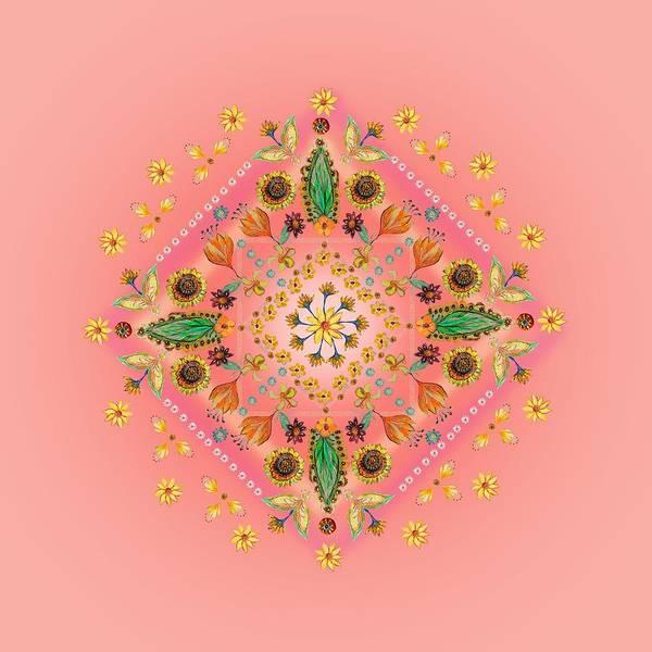 Wall Art - Digital Art - Mandala Flowering Series#2. Pink by Elena Kotliarker