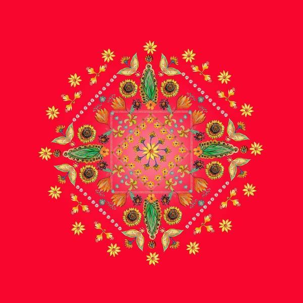 Wall Art - Painting - Mandala Flowering Series#2. Red by Elena Kotliarker
