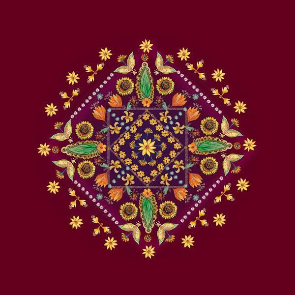 Wall Art - Digital Art - Mandala Flowering Series#2. Terracotta by Elena Kotliarker