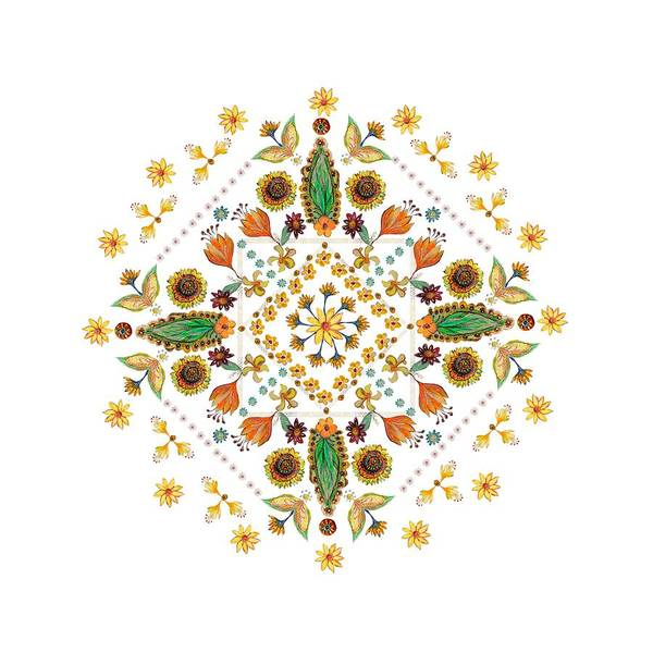 Wall Art - Digital Art - Mandala Flowering Series#2. White by Elena Kotliarker