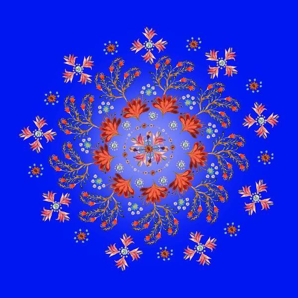 Wall Art - Painting - Mandala Flowering Series#3. Blue by Elena Kotliarker