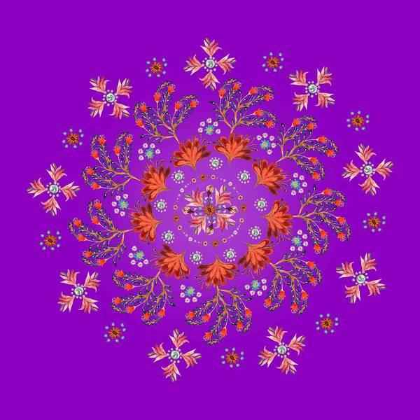 Wall Art - Painting - Mandala Flowering Series#3. Deep Purple by Elena Kotliarker