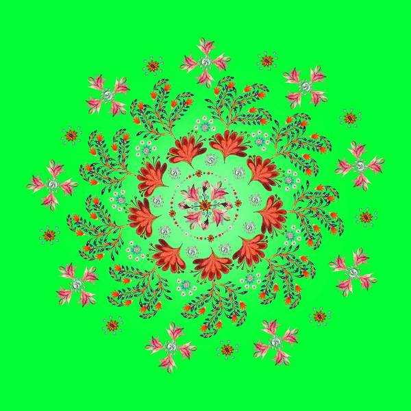 Wall Art - Digital Art - Mandala Flowering Series#3. Green by Elena Kotliarker