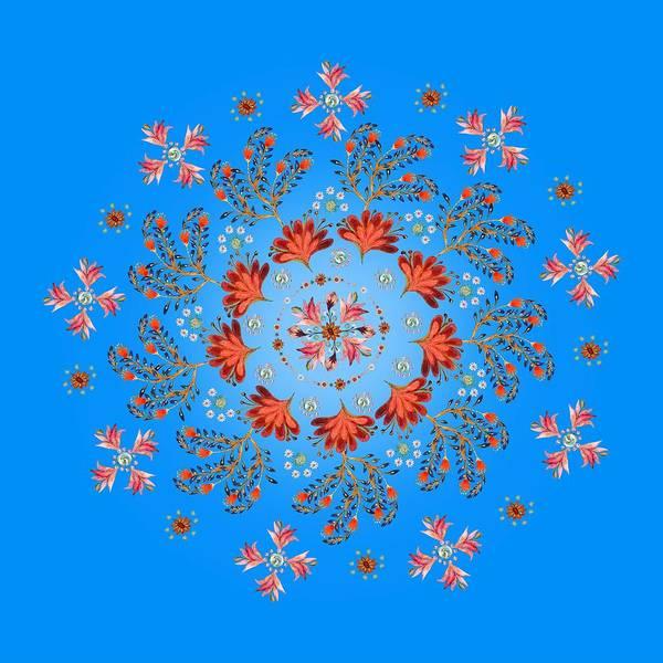 Wall Art - Digital Art - Mandala Flowering Series#3. Light Blue by Elena Kotliarker