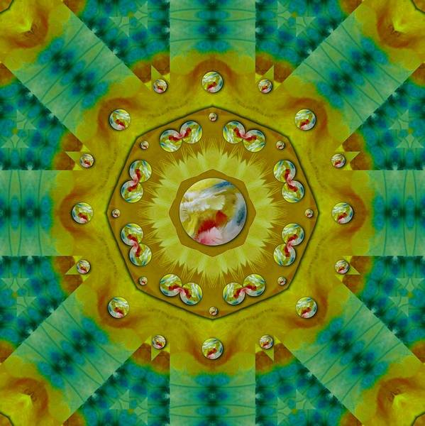 Wall Art - Mixed Media - Mandala In Peace And Feathers by Pepita Selles