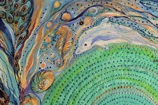 Wall Art - Painting - Mandala Series #1. Fragment #2 by Elena Kotliarker
