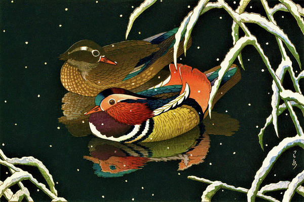 Wall Art - Painting - Mandarin Duck - Digital Remastered Edition by Kawase Hasui