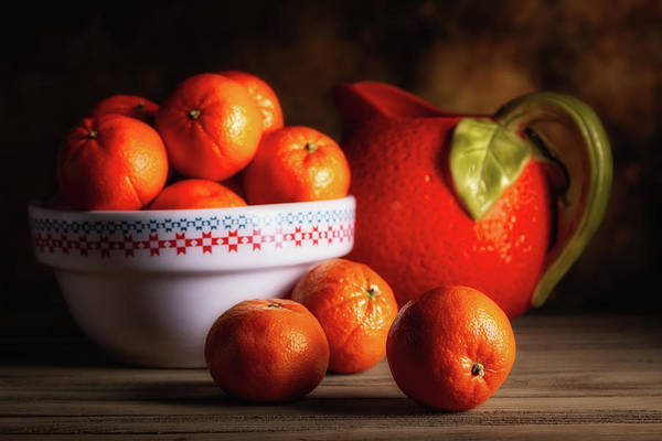 Wall Art - Photograph - Mandarin Oranges And Orange Shaped Pitcher by Tom Mc Nemar