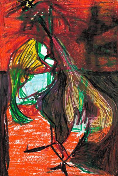 Drawing - Mandola Player by Artist Dot