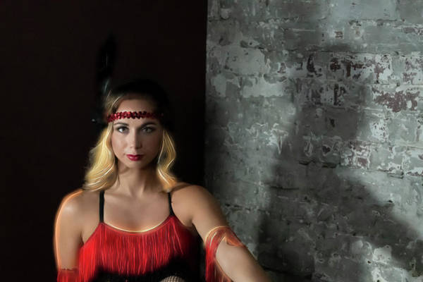 Photograph - Mandy In Red Period 20 S Dress by Dan Friend
