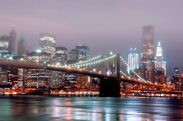 Christmas Lights Photograph - Manhattan And Brooklyn Bridge Under Fog by Shobeir Ansari