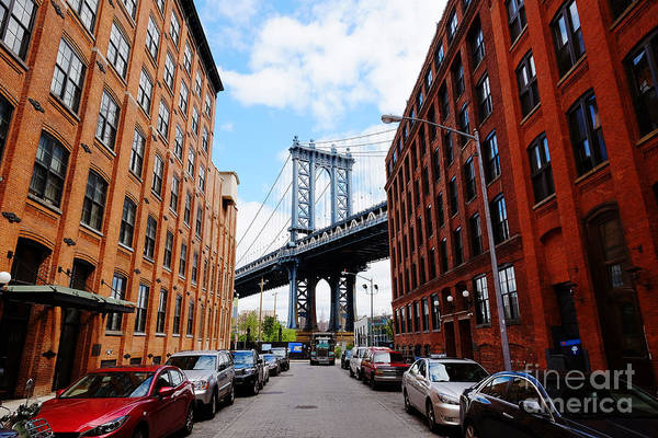 Midtown Photograph - Manhattan Bridge Seen From A Red Brick by Youproduction