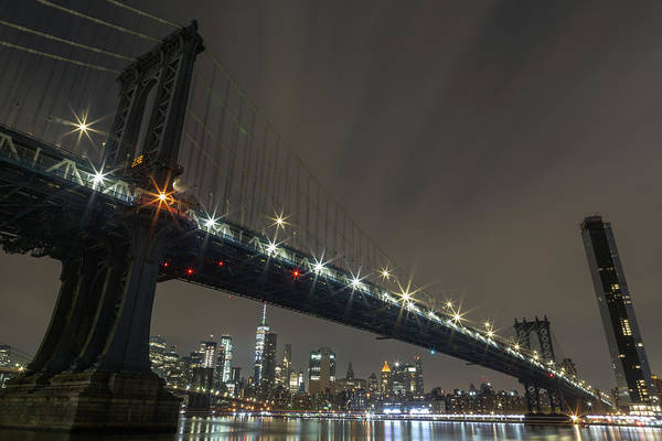 Photograph - Manhattan Bridge Skyline At Night by John Daly