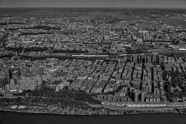 Photograph - Manhattan Bronx Nyc Aerial Bw by Susan Candelario