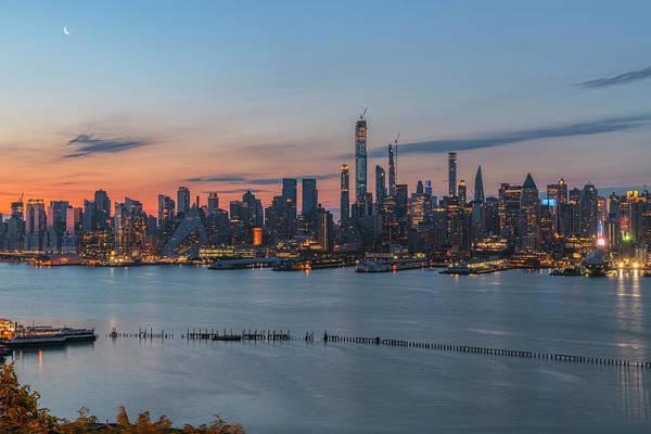 Wall Art - Photograph - Manhattan Dawn Moon by Angelo Marcialis
