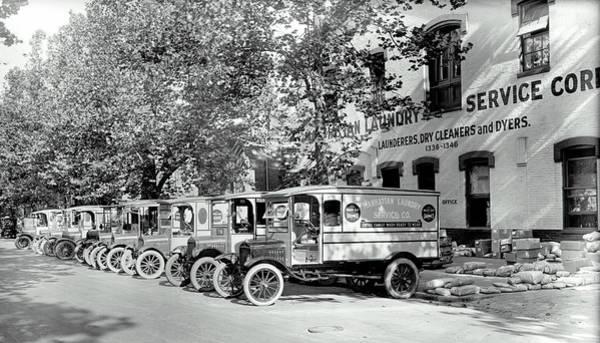 Wall Art - Photograph - Manhattan Laundry Service Ford Trucks C. 1910 by Daniel Hagerman