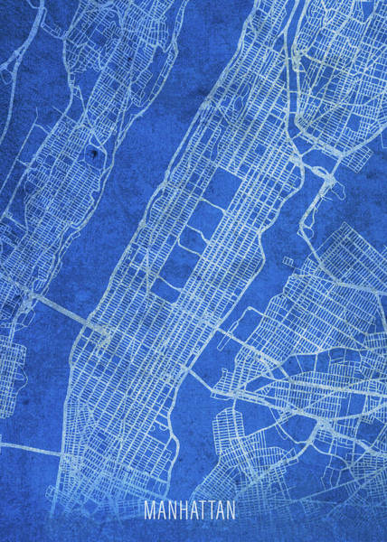 Wall Art - Mixed Media - Manhattan New York City Street Map Blueprints by Design Turnpike