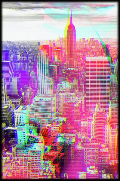 Wall Art - Digital Art - Manhattan New York Trippy Glitch Art by Matthias Hauser