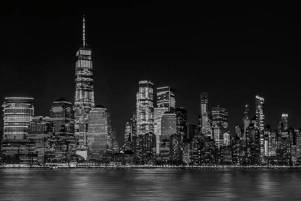 Photograph - Manhattan Nyc Skyline Twilight Bw by Susan Candelario