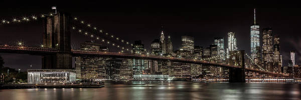 Wall Art - Photograph - Manhattan Skyline And Brooklyn Bridge Idyllic Nightscape - Panoramic by Melanie Viola