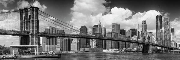 Wall Art - Photograph - Manhattan Skyline And Brooklyn Bridge Panorama Monochrome by Melanie Viola