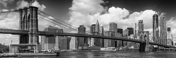 Wall Art - Photograph - Manhattan Skyline And Brooklyn Bridge Panorama Monochrome by Melanie Viola
