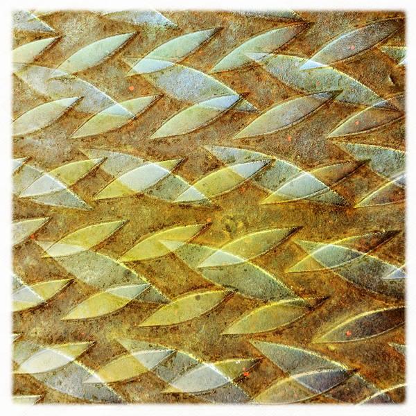 Yellow Photograph - Manhole Cover Abstract by David Kozlowski