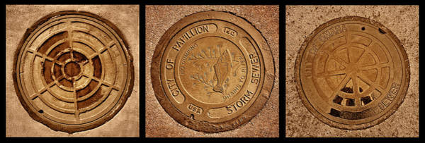 Storm Drain Photograph - Manhole Covers - Triptych by Nikolyn McDonald