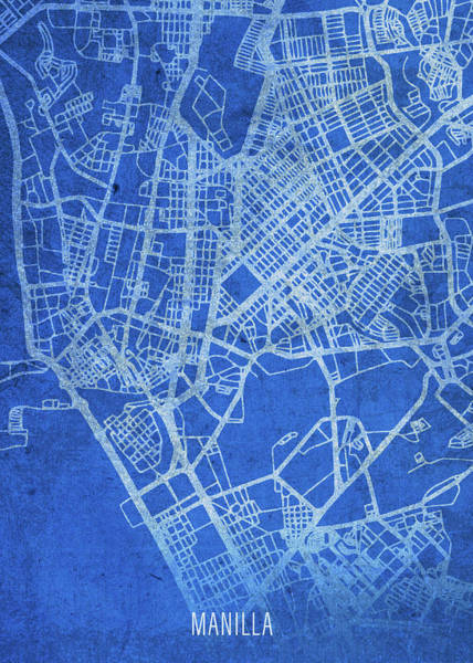 Wall Art - Mixed Media - Manila Philippines City Street Map Blueprints by Design Turnpike