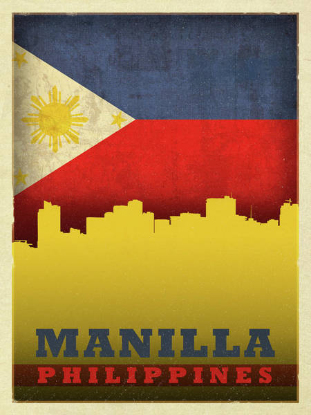 Wall Art - Mixed Media - Manilla Philippines City Skyline Flag by Design Turnpike