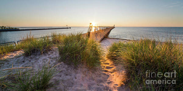 Wall Art - Photograph - Manistee Lighthouse And Pier From Beach by Twenty Two North Photography