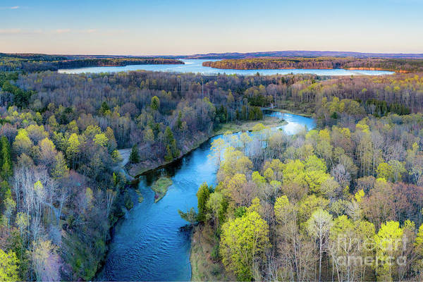 Wall Art - Photograph - Manistee River Evening Aerial by Twenty Two North Photography