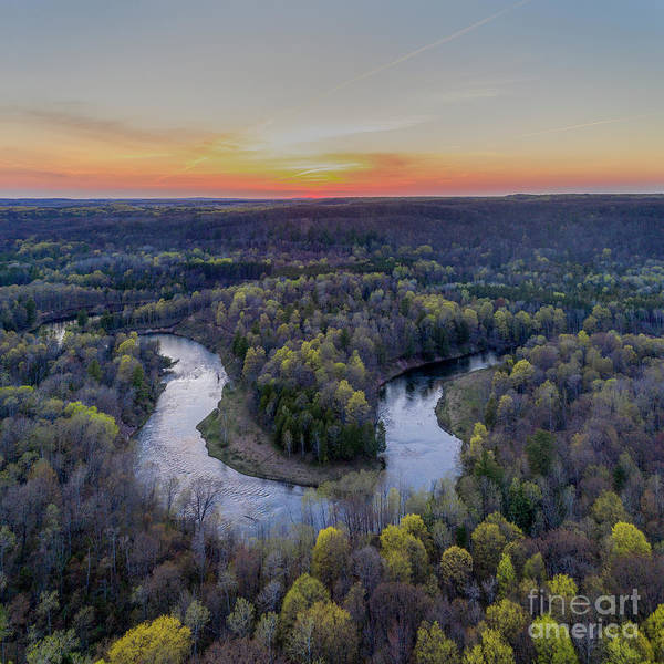 Wall Art - Photograph - Manistee River Sunset Aerial Square by Twenty Two North Photography