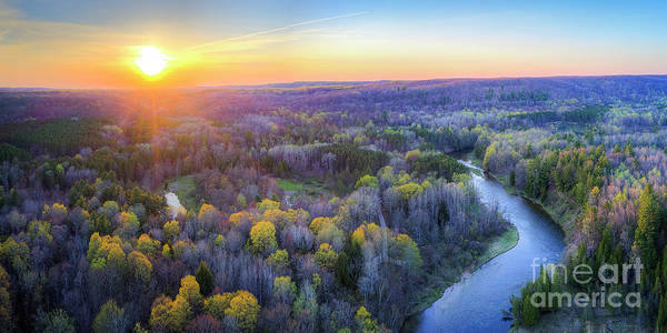 Wall Art - Photograph - Manistee River Sunset Aerial by Twenty Two North Photography