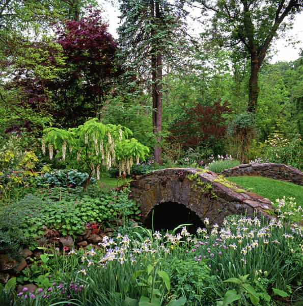 Vertical Garden Photograph - Mannacured Garden & Stone Bridge by Richard Felber