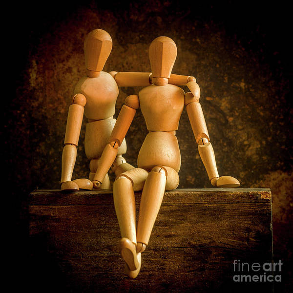 Wall Art - Photograph - Mannequins On A Wooden Box, Concept Love by Bernard Jaubert
