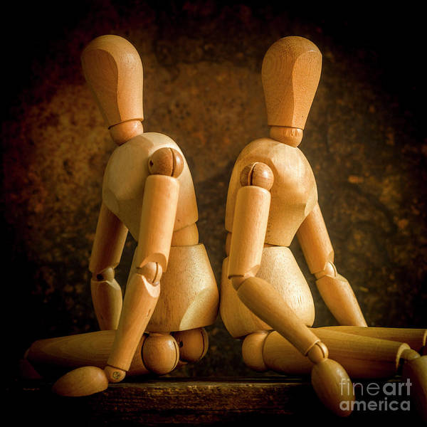 Wall Art - Photograph - Mannequins On A Wooden Box, Concept Separation by Bernard Jaubert