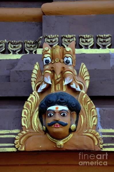 Photograph - Man's Head Holy Deity Wood Carving With Fierce Mythical Animal Creature At Nallur Kandaswamy Hindu T by Imran Ahmed