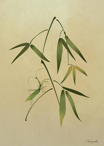 Wall Art - Digital Art - Mantis And Bamboo by M Spadecaller