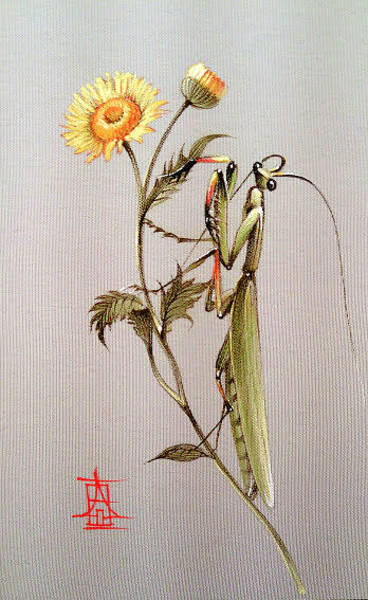Painting - Mantis On Yellow Flower by Alina Oseeva